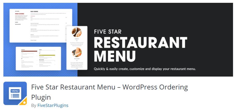 Five Star Restaurant Menu Plugin