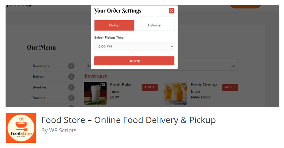 Food Store – Online Food Delivery & Pickup By WP Scripts