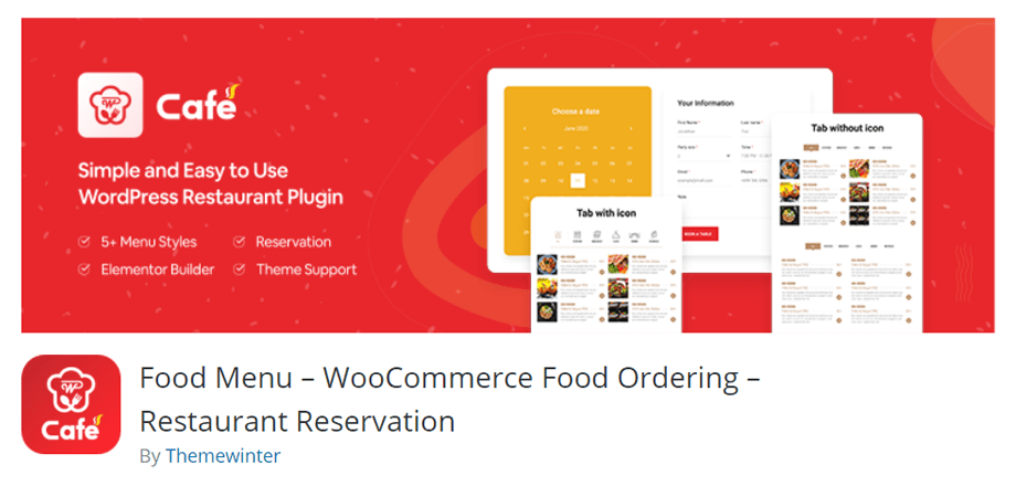 WP Cafe Food menu - WooCommerce Food Ordering - Restaurant Reservation
