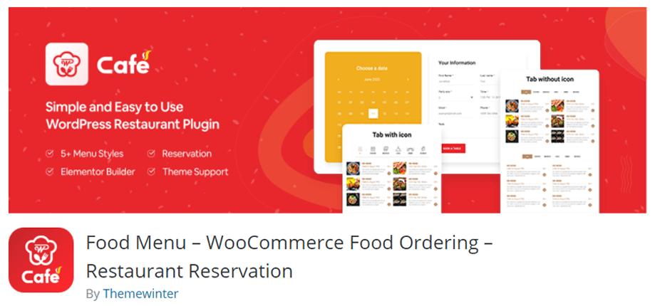 WP Cafe food menu plugin