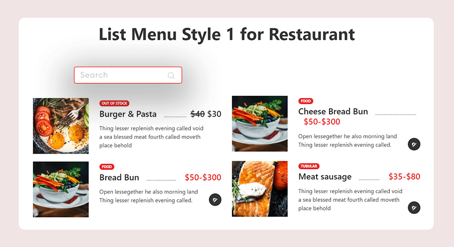 food menu for restaurants WordPress website, themewinter