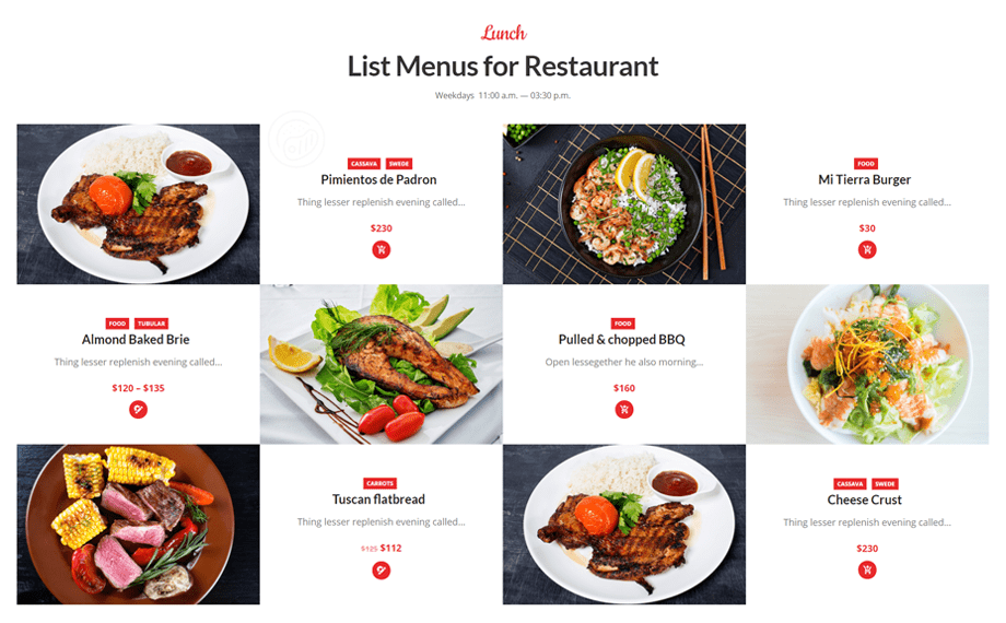 Food menu template from Cafesio theme