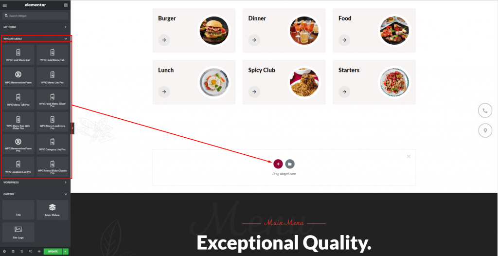 Design Restaurant Website with Elementor, Elementor restaurant menu, themewinter
