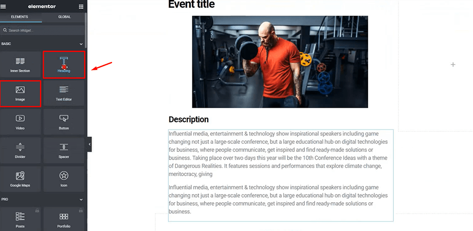 add event details for event website with Elementor