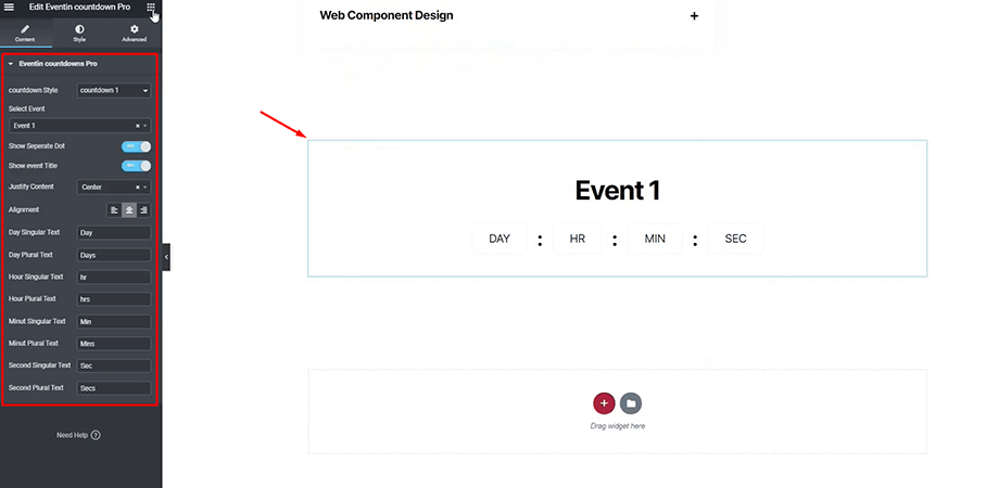 event coutdown timer for WPEventin