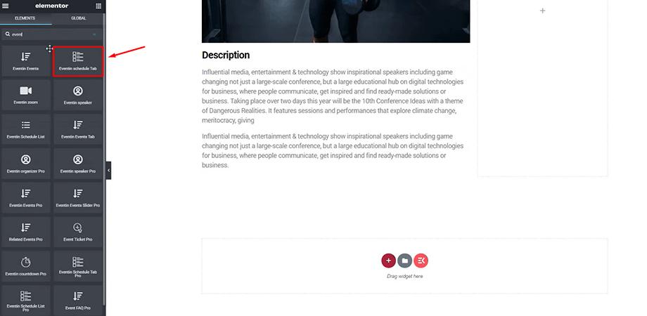 event schedule tab widget from WPEventin to design website with Elementor