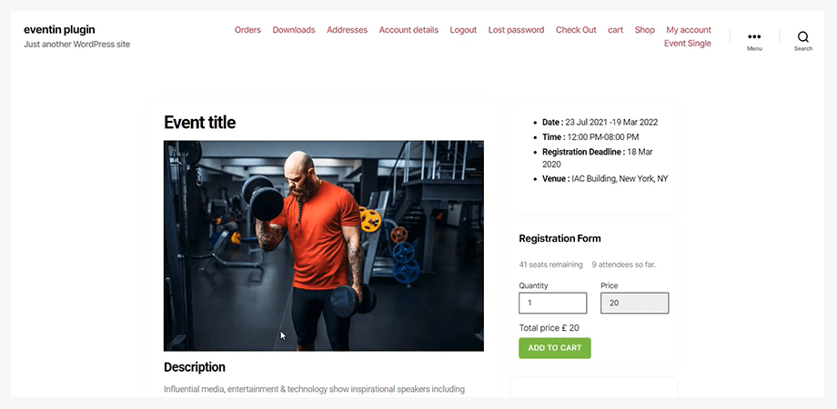WPEventin website with Elementor