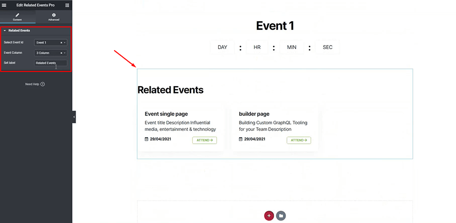 Related events section from WPEventin for website with Elementor