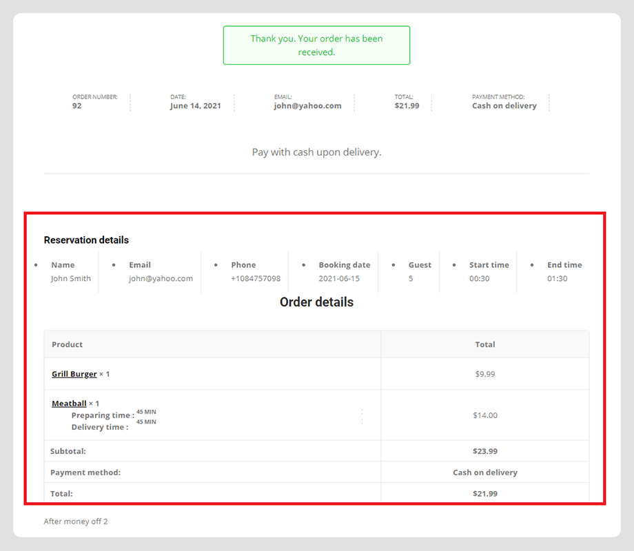 wpcafe reservation with food order details