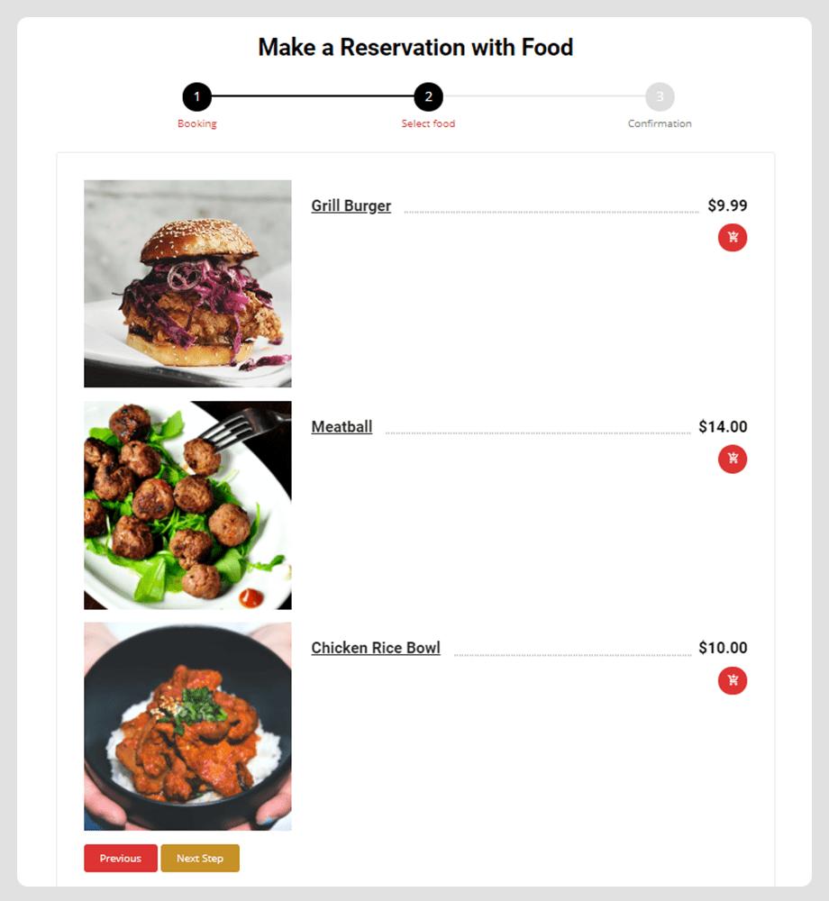 reservation with food order menu