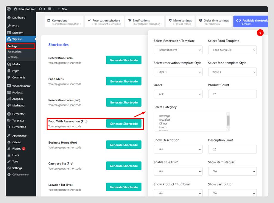 reservation form shortcode builder