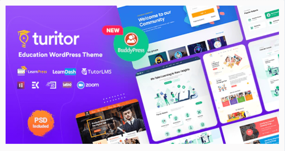 turitor theme listed as one of the best wordpress education these for wordpress
