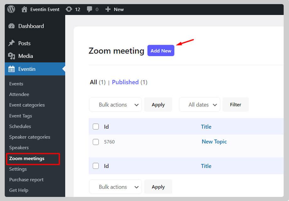 zoom meetings in WordPress
